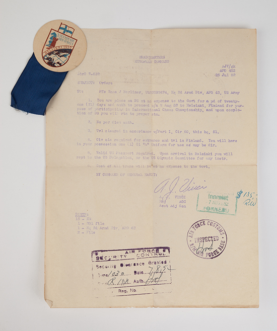 Hans Berliner's Letter of Clearance and Pin from the 1952 Chess Olympiad