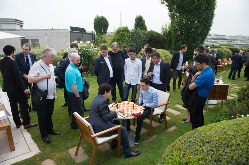 Alejandro Ramirez and Fabiano Caruana Compete during the Pre-Round Activities of the 2016 Paris Grand Chess Tour