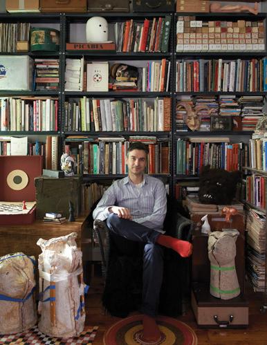 Marcel Dzama in his studio