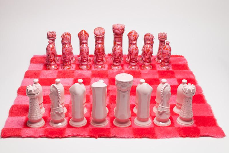 Ceramic Chess Set with Shag Rug Board