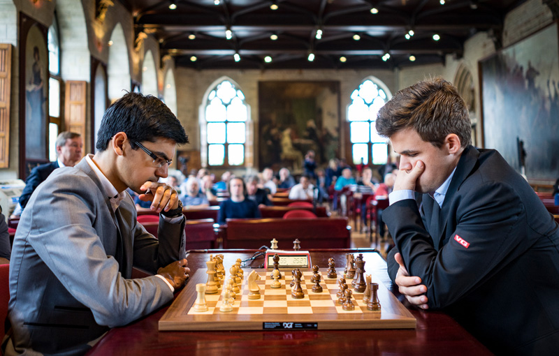 Anish Giri and Magnus Carlsen Compete During Rapid Day Two of the 2016 Your Next Move Grand Chess Tour