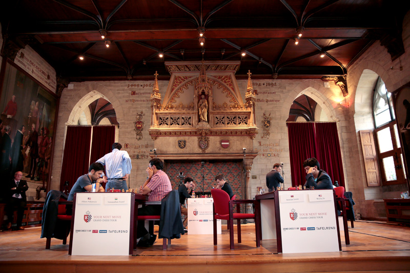 Competitors during Rapid Day One of the 2016 Your Next Move Grand Chess Tour