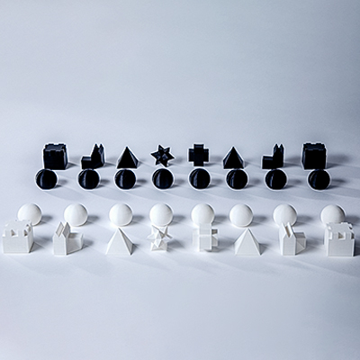 Chess Set Modern Black White