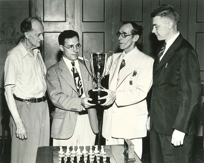 The George Sturgis Trophy Being Presented to Anthony Santasiere, Winner of the 1945 Peoria, IL, U.S. Open Chess Championship