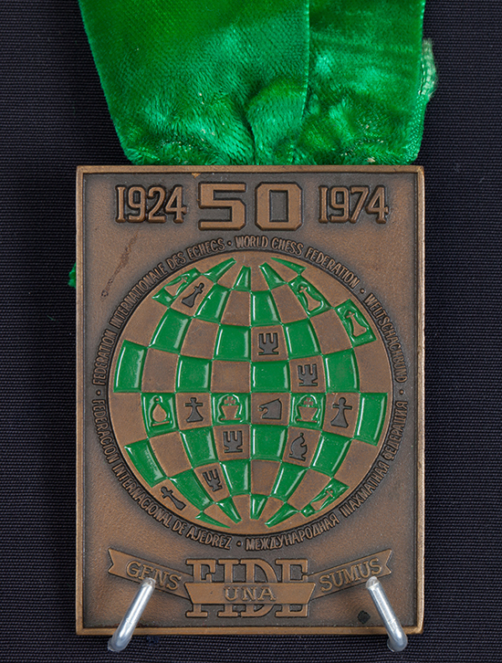 Grandmaster Walter Browne's Team Bronze Medal from the 1974 Chess Olympiad