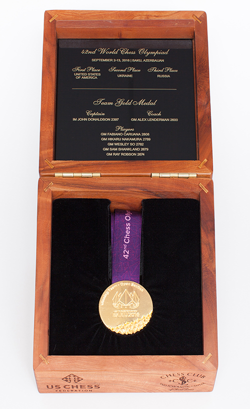 GM Ray Robson's Team Gold Medal from the 2016 Olympiad