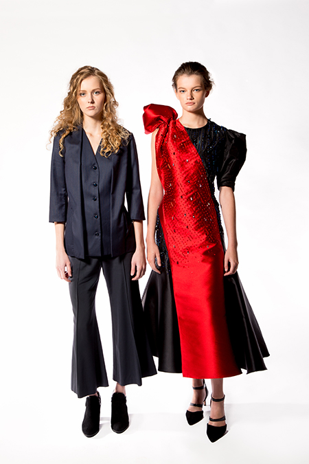 AUDRA, Shawl Collar Blazer and Cropped Flare Pant & Swarovski Hand-Embellished Asymmetrical Bias Gown, 2017