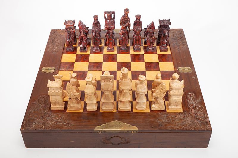 Hand-Carved Wooden Chess Set, 1968