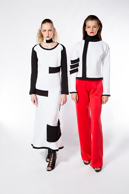 Smith II, Long-Sleeve Black and White Dress with Choker & White and Black Jacket with Sleeve Bands and Red Pants, 2017