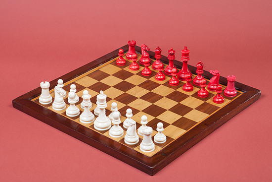 British Chess Company Club-Size Ivory Set and Large Stamped Board, 1900