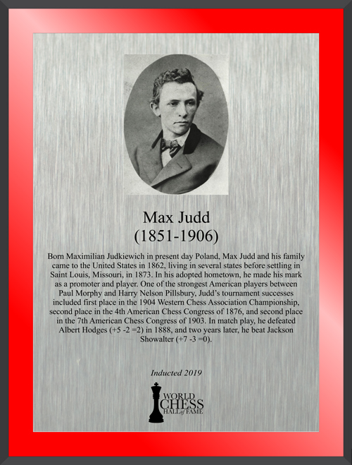 Max Judd's Hall of Fame Plaque