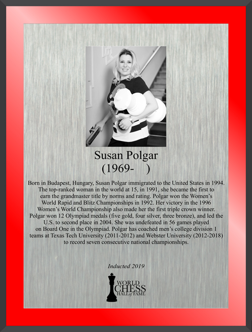 Susan Polgar's Hall of Fame Plaque
