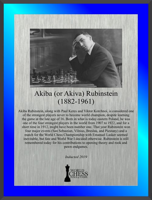 Akiba Rubinstein's Hall of Fame Plaque