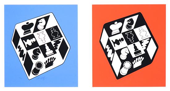 Echecs (fond bleu) and Echecs (fond rouge), 1983