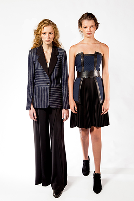 Wai Ming, Pinstripe Jacket with Pants & Bustier with 'Rook' Belt and Pleated Skirt, 2017