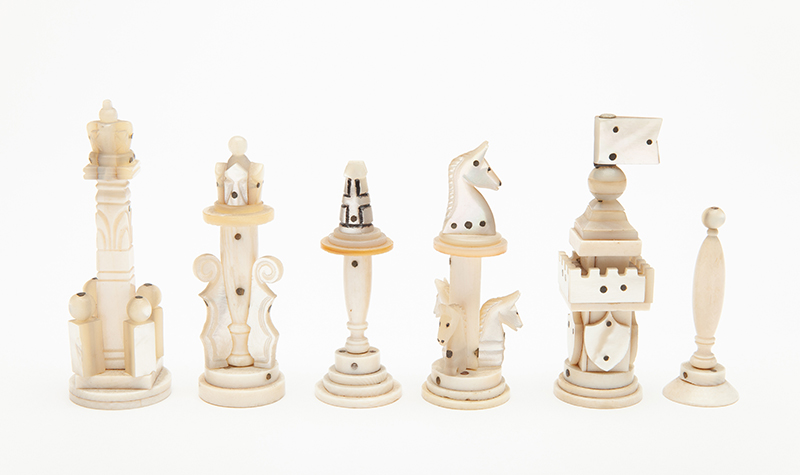 Mother of Pearl and Ivory Chess Set, 20th Century