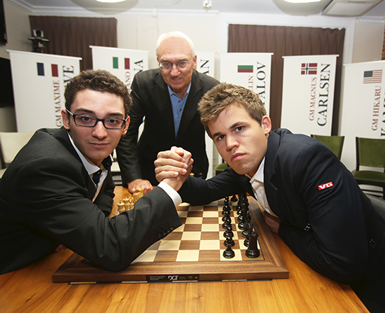Fabiano Caruana, Magnus Carlsen, and Rex Sinquefield at the 2014 Sinquefield Cup