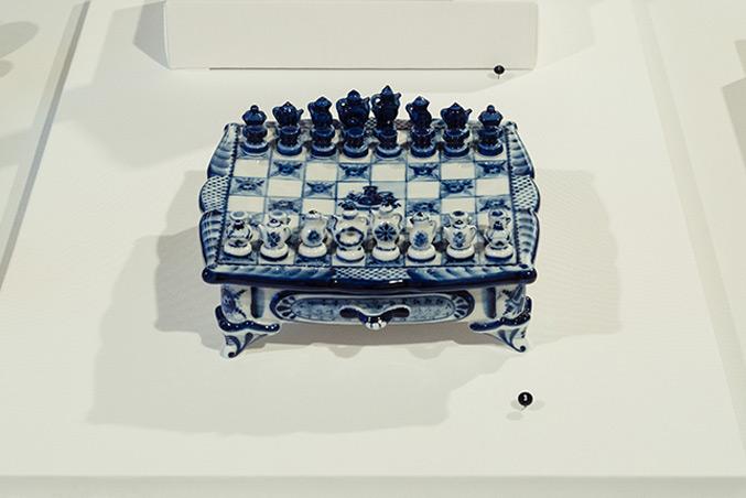 Chess Collectors International Gzhel Teapot Chess Set, 1996