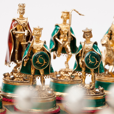 Silver and Copper Enamel Chess Set and Board