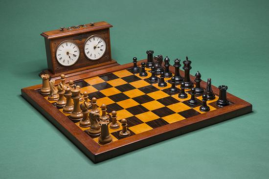 Jaques no. 9 Set, 1849; Jaques Stamped Board, 1900; Jaques Congress Timer, 1895