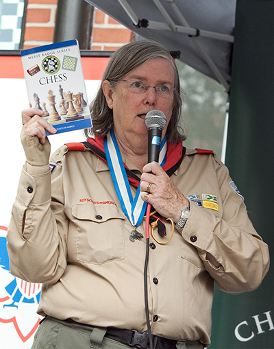 Jeanne Sinquefield at the Scouts BSA Chess Merit Badge Launch, September 10, 2011