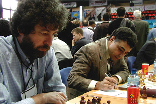 GM Gregory Kaidanov and GM Yasser Seirawan at the 2002 Olympiad