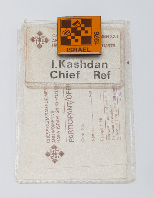 GM Isaac Kashdan's ID Card from the 1976 Olympiad