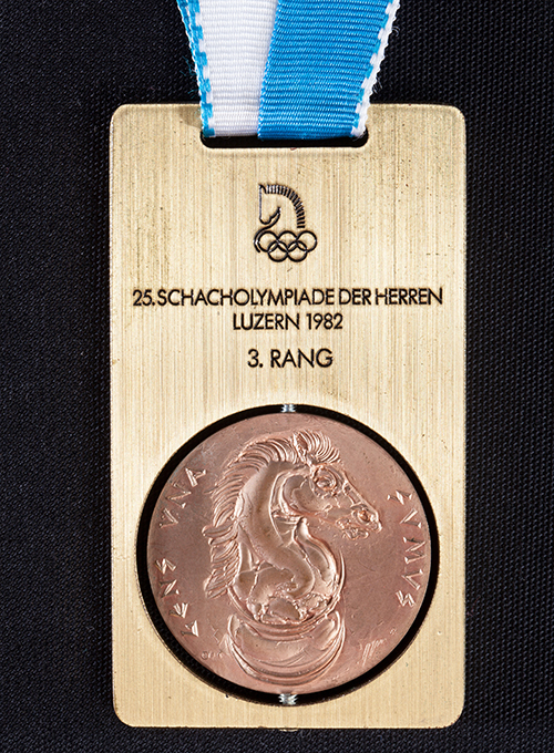 GM Lubomir Kavalek's Team Medal from the 1982 Olympiad