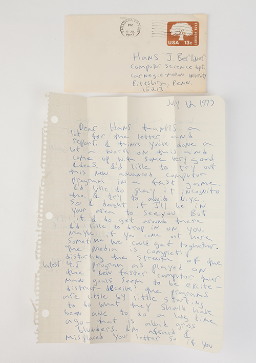 Letter from Bobby Fischer to Hans Berliner