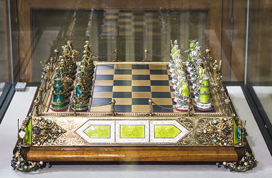 Hungary, Silver and Copper Enamel Chess Set and Board, Early 20th century