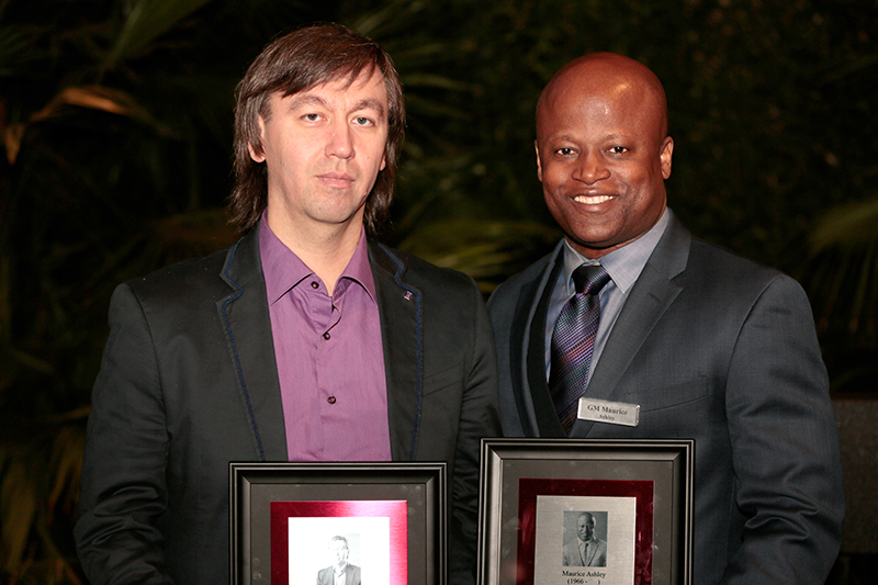 GM Maurice Ashley Poses with GM Gata Kamsky at their Induction to the U.S. Chess Hall of Fame