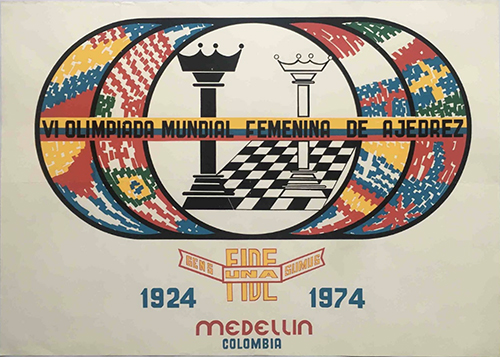 Poster from the Sixth Women's Chess  Olympiad, Medellin, Colombia