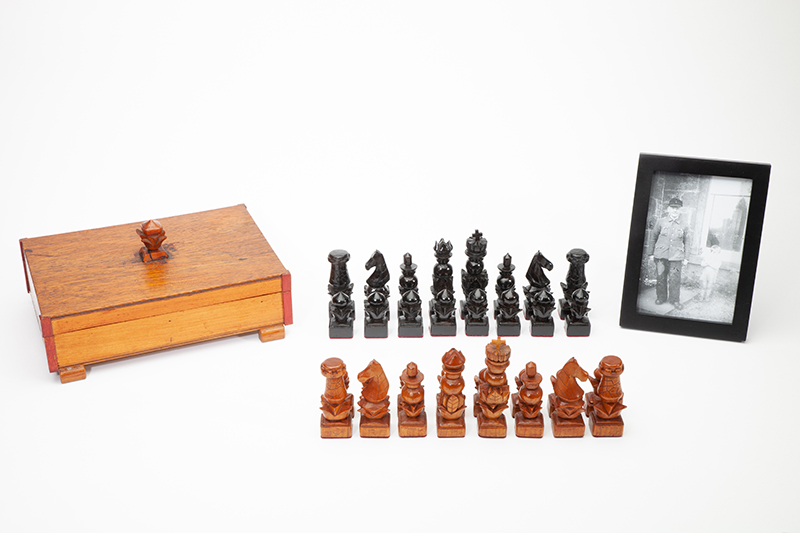 Carved POW Set with Box and Photograph