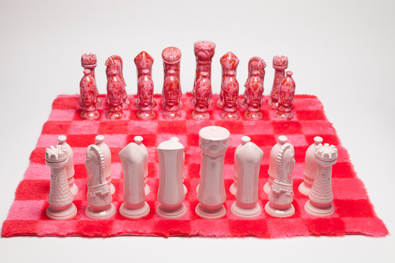 Ceramic Chess Set with Shag Rug Board