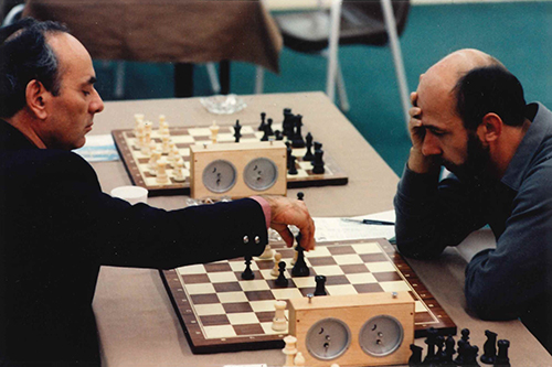 GMs Lajos Portisch and Lubomir Kavalek at the 1984 Olympiad
