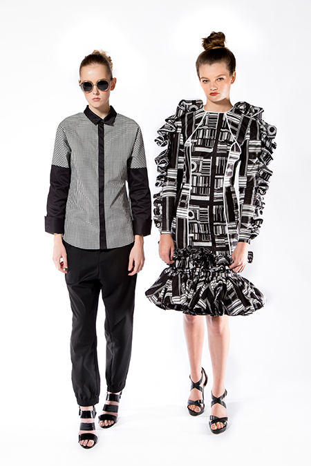 Demestik by Reuben Reuel, Black and White Gingham Shirt & Black and White Printed Dress, 2017