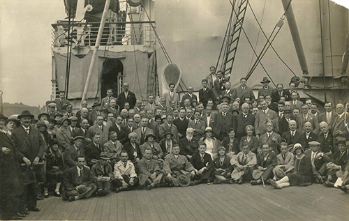 Photograph of players and officials during an excursion on the Steamship Deutschland Hamburg, Germany 1930