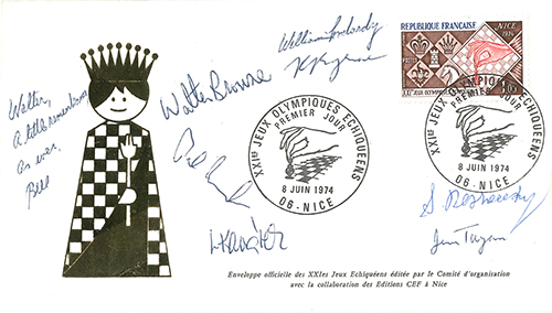 Signed First Day Cover from the 1974 Olympiad