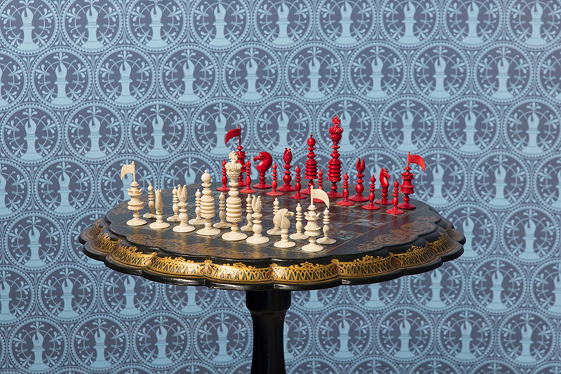 English Ivory Playing Set with Victorian Tilt-top Chess Table