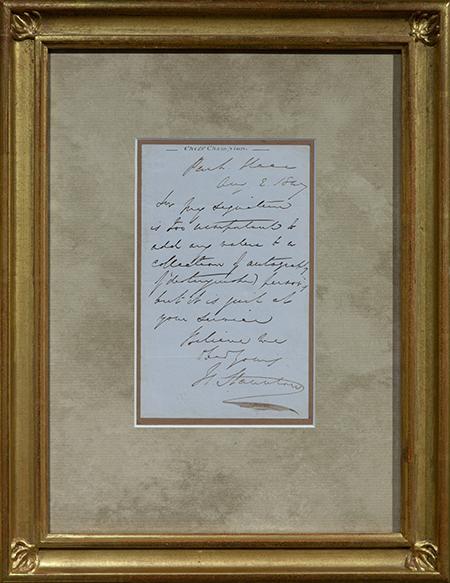 Staunton Handwritten Letter, 1847