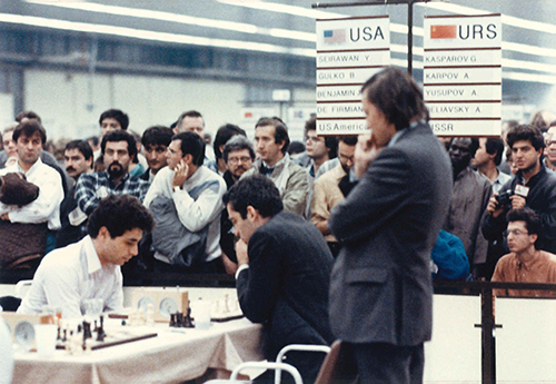 GM Yasser Seirawan, GM Garry Kasparov, and GM Anatoly Karpov at the 1988 Olympiad