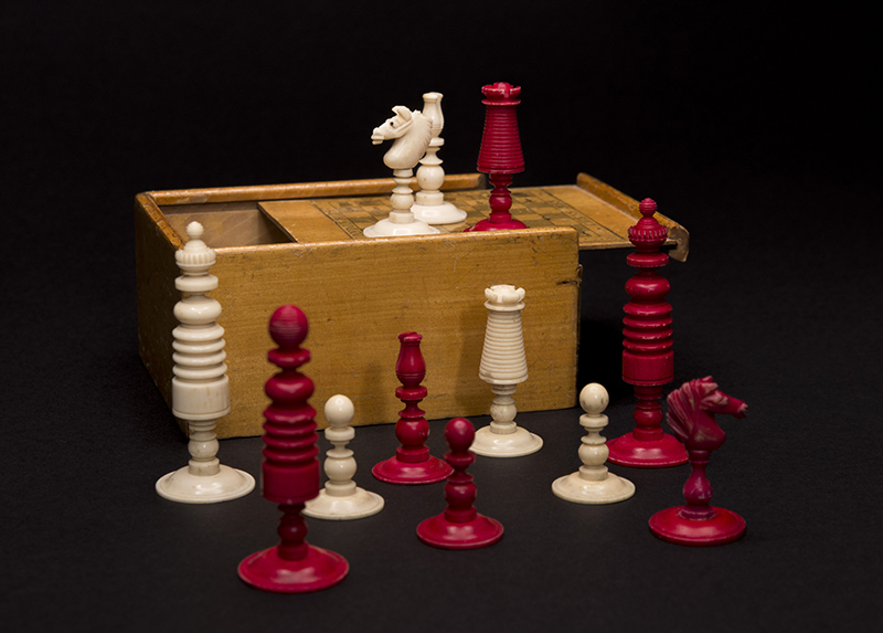Victorian Bone Playing Set Retailed by Rhoads, 1850