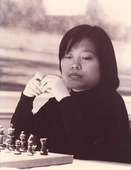 Xie Jun Playing in the 1996 Women vs Veterans Match in London, England