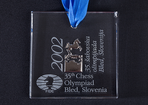 GM Yasser Seirawan's Silver Board 2 Medal from the 2002 Olympiad