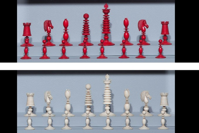 Thomas Lund. England. Antique Ivory Chess Set ...